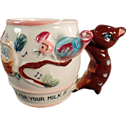 "Child's, Old Milk Cup ""Whistle for Your Milk"" with Deer Handle"