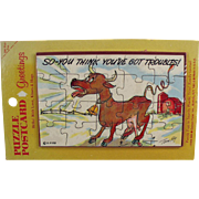 Old, Postcard Puzzle Mailer - Humorous with Funny Cow