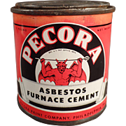 Old, Pecora Asbestos Furnace Cement Tin - Nice Graphics with Devil