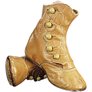 Old, Baby Shoes - Tan Colored Leather - Five Button