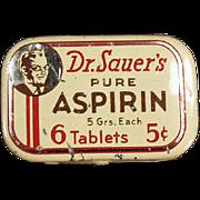 SOLD Dr. Sauer's Aspirin - Old Medicine Tin