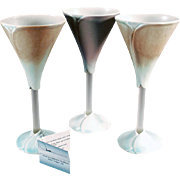 Newman Art Pottery - Three (3) Wine Goblets