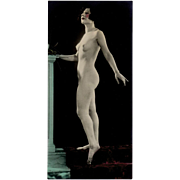 Old, Hand Tinted Photograph, circa 1920's - Posed Nude Woman