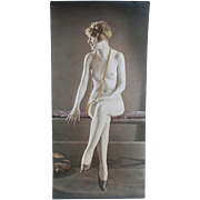 Old, Hand Tinted Photograph of Seated, Nude Woman - circa 1920's