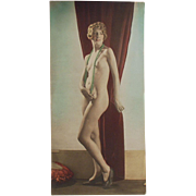 Old, Hand Tinted Photograph of Posed, Nude Woman - circa 1920's
