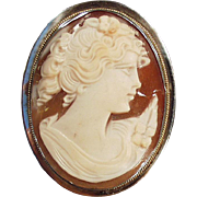 Old, Carved Shell Cameo, Combination Pin & Pendant - 800 Silver Mount