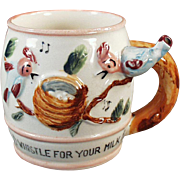 """Old  """"All Gone"""" Child's Milk Cup with a Whistling Handle"""