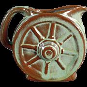 Old Frankoma, Wagon Wheel Cream Pitcher - Green Glaze
