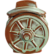 Old Frankoma, Wagon Wheel Sugar Bowl with Lid - Green Glaze