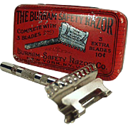 Old, Burham Safety Razor with Original Razor Tin