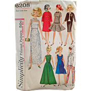 Old, Simplicity Pattern #6208 - Doll Clothes for Barbie & Other Teen Model Dolls