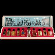 Old, Les Grands Parfums de France - 10 Miniature Perfume Bottles in Box