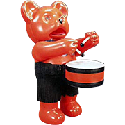 Old, Celluloid Drumming Bear - Japanese Wind-up Toy