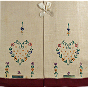 Old Guest Towels with Embroidery - Original Labels and Box