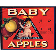 Old Advertising Crate Label - Baby Brand Apples