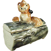 SALE PENDING Old Cookie Jar - Squirrel on Log by Brush - 1965