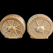 Old, Frankoma Salt & Pepper - Wagon Wheel - Desert Gold Glaze, Ada Clay