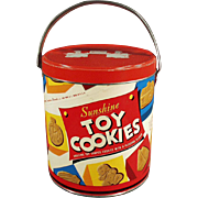 "Old ""Sunshine"" Toy Cookies Pail with Great Cookie Graphics"