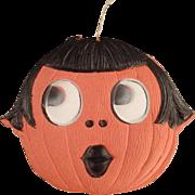 Old Halloween Decoration - Die Cut Pumpkin Girl - Germany