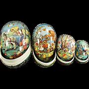 Set of Old Cardboard, Nesting Easter Eggs - Very Cute