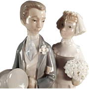 "SALE Old, Lladro #4808 ""Wedding"" Bride & Groom Figurine"