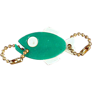 Old, Figural Key Chain - Green Fish with Advertising