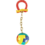 Old, Dexterity Puzzle Key Chain - Ball with Good Luck Horse Shoe