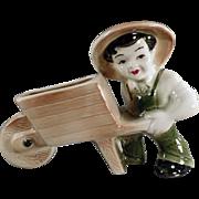 Old, Ohio Pottery Planter - Farmer Boy with Wheelbarrow