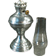 Old, Miniature, Kerosene Oil Lamp with Aluminum Base