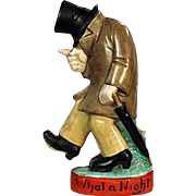 "Vintage, Schafer and Vater Figural Flask - ""What a Night"" Drunk"