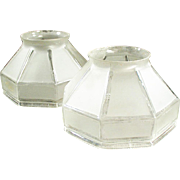 Pair of Vintage Light Shades - Frosted, Angular