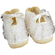 Vintage Baby Shoes - Yellow & White with Ruffles