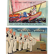 Two Old Postcards, Funny Military Scenes - Colorful and Never Used
