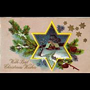 Vintage, Christmas Postcard with a Star Framed Scene