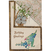 Vintage, Birthday Postcard with Dried Flowers & Embossed Design