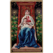 Beautiful, Vintage, Christmas Postcard - Madonna & Child, Vivid Colors