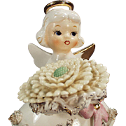 Vintage Birthday Angel for November with Flower & Birthstone