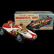 Vintage, Japanese Tin, Ferrari Race Car & Driver with Original Box - Indianapolis Hero