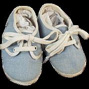 Vintage Baby Shoes - Blue Denim with Original Box