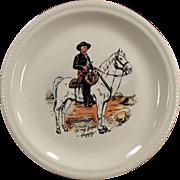 Vintage, Hopalong Cassidy Dinner Plate - Black Version