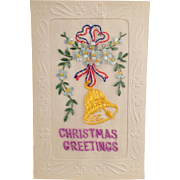 Vintage Christmas Postcard with Embroidered Greeting