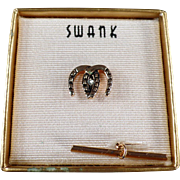 Vintage Tie Clip - Double Horseshoes - Swank, with Original Box