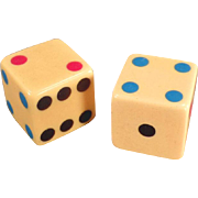 Vintage, Bakelite Dice with Colored Pips - One Pair