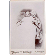 Vintage, Cabinet Card Photograph - Baby in Christening Gown