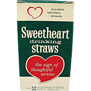 SALE Box of Vintage, Sweetheart Drinking Straws