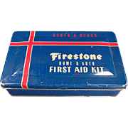 SALE PENDING Vintage, Firestone, Home & Auto, First Aid Kit Tin