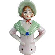 Vintage, Porcelain Half Doll - Young Lady with Bonnet