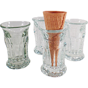 4 Old, Ice Cream Cone Glasses for Soda Fountain Use