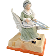 Vintage Music Box, Porcelain Figurine of Mother Goose