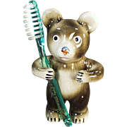 Figural, Vintage Toothbrush Holder - Little Bear